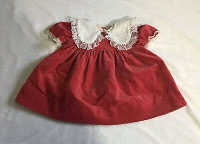 Vintage Bryan Baby Toddler Girl's Dress Velvet Orange White Lace Size 24 Months