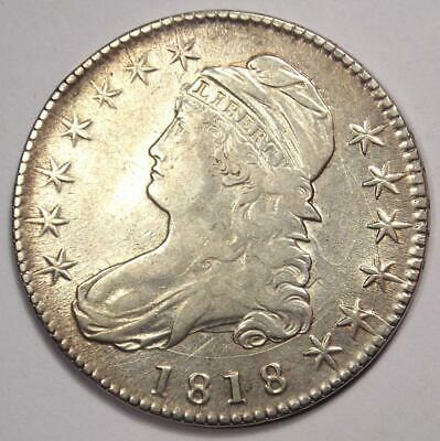 1818 Capped Bust Half Dollar 50C - XF Details - Rare Date Coin - Good Luster!