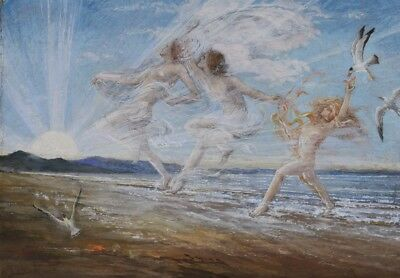 """Pre-Raphaelite Painting """"Sea Nymphs"""" by Estella Canziani / English Arts & Crafts"""