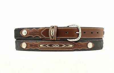 Nocona Black Leather Boys Fabric Inset Belt