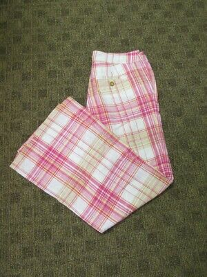 LILLY PULITZER Dark Pink White Linen Plaid Casual Flat Front Pant Sz 2 HH2530