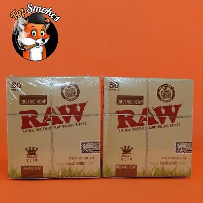 100 Pack 2 Box Raw Organic Hemp King Size Slim Rolling Papers Spain Authentic