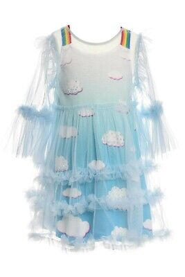 NEW! Girls Hannah Banana Sky and Clouds Dress Size 8y