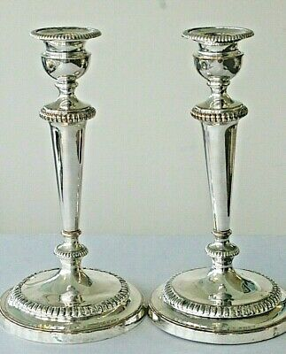 Antique pair of large silver plated on copper candlesticks