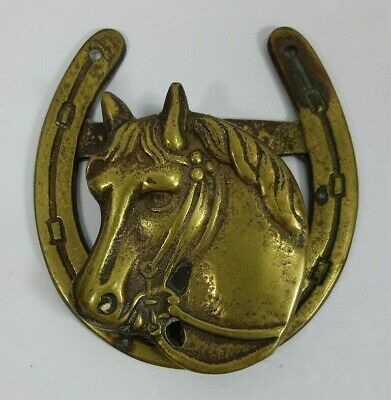 "Vintage Brass Horse Head Horseshoe Door Knocker Patina 5"" Rustic Equestrian"
