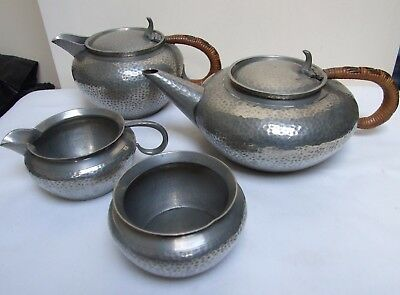 Roundhead Pewter England 8390 Hammered Tea Set Wicker Handles Arts & Crafts