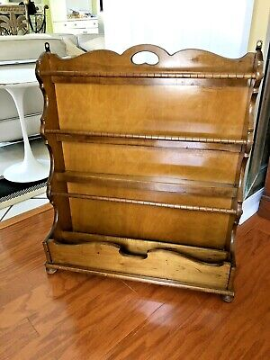 Large Vintage MID CENTURY Wood Hanging Wall Shelf Quilt Rack Display Plate Curio
