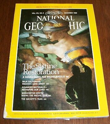 National Geographic Magazine December 1989 w/ Map of The Holy Land, Sistine