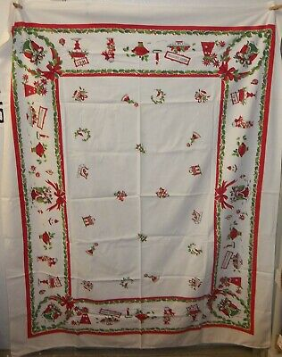 """Vintage Mid Century Modern Christmas Tablecloth 54""""x64"""" Ornaments Carolers Candy"""