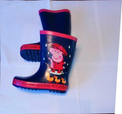 Girls Peppa Pig Kids Children's Wellies, Navy/Red, UK 10, EU 28, Official Ex M&S