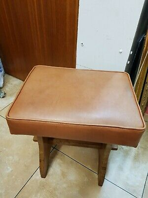 Vintage handmade Solid pine stool with leather seat H46cm L42cm W31cm