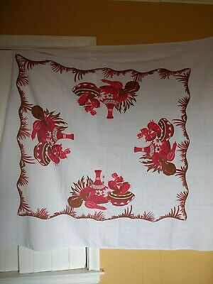 """Vintage Mexican Southwest Red Brown & White Tablecloth 48""""x43"""" Cactus & Pottery"""