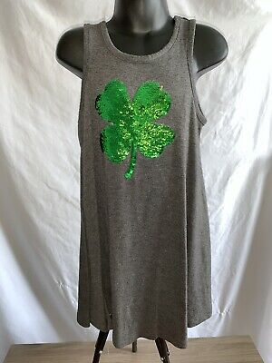 Girls XS LOL Vintage Flip Sequin St Pattys Patricks Day Shamrock Dress