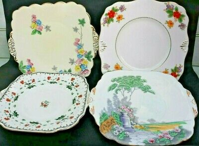 Vintage Art Deco China 9-10inch Afternoon Tea Cake/Sandwich Plates x 4