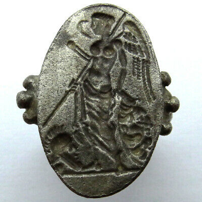 Roman Ancient Artifact Silver Ring With Goddess Victoria In Battle With A Spear
