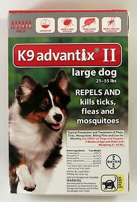 Bayer K9 Advantix II Flea Treatment Large Dog 21-55 lbs 6 Doses (Box Vary)