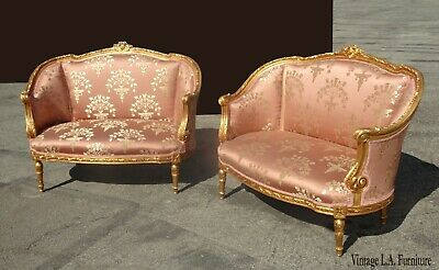 Pair of Vintage French Louis XVI Rococo Gold & Pink Settee Loveseat Pair