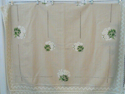 """Daisy Embroidered Homespun Unbleached Linen Tablecloth + Lace Border 80"""" X 112"""""""