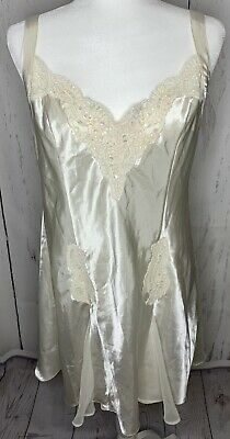Victorias Secret Ivory Bridal Silk Chemise Babydoll Nightie Nightgown Large Whit