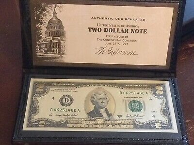 UNCIRCULATED FEDERAL RESERVE NOTE 2013 A-22K LEAF $2 TWO DOLLAR BILL