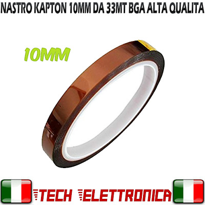 NASTRO ADESIVO KAPTON 10MM ALTE TEMPERATURE TERMICO BGA 10 MM 33 mt