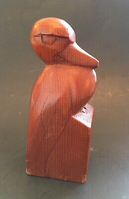 Antique Vintage Original Hand Carved Owl Wood Bird Carving Decoy Folk Art SIGNED
