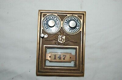 Antique Corbin Brass Post Office Box Lettered  Combination Door with Eagle