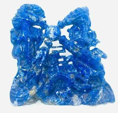 Large Chinese Carved Stone Four Dragons Figure Statue Natural Lapis Lazuli