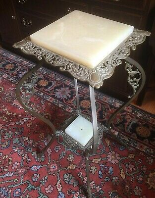Victorian Alabaster(or Onyx) & Metal Plant/Fern Stand (circa early 1900's) (#2)