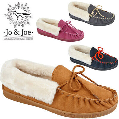 Ladies 100% Leather Suede Moccasin Fur Lined Loafers  Mules Warm Winter Shoes
