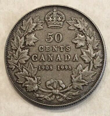 50c MATTE 1908 1998 CANADA ANTIQUE SILVER 50/FIFTY CENT 90th COIN HALF $1 PROOF