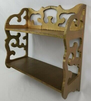 Vintage Fretwork Scroll Wood Wall Shelf 2 Tier Display Knick Knack Curio