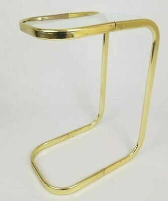 Mid-Century Milo Baughman Style C Table Side Accent Gold Metal Glass Top Vintage