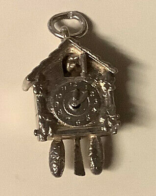 Vintage Silver Moving Cuckoo Clock 3.6 Grams Charm For Charm Bracelet.