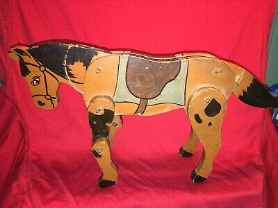 ANTIQUE WOOD TOY HORSE ARTICULATED FOLK ART OLD PAINT 1930's PRIMITIVE VTG JOINT