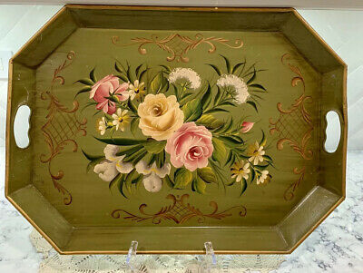 TOLE Pilgrim Serving Tray Display Art French Country Hand Painted Vintage Large