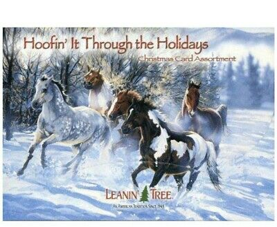 LEANIN TREE 'Hoofin' It Through the Holidays' set of 20 Christmas Cards