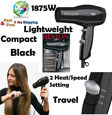 Hair Dryer 1875W Compact Lightweight Black Travel 2 Speed Hair Drying Styling