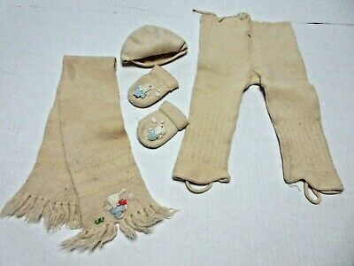 Antique Baby Outerwear Set Pants Hat Scarf Gloves Wool Knit W Application