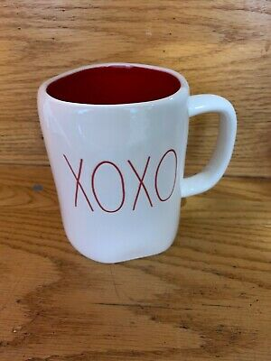 "New RAE DUNN Valentine's Day LL ""XOXO"" Mug With Red Inside By Magenta RARE"