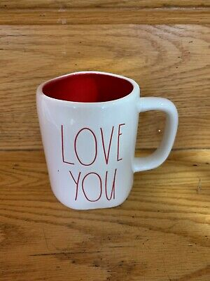 """New RAE DUNN Valentine's Day LL """"LOVE YOU"""" Mug With Red Inside By Magenta ❤️"""