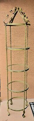 Circular Round Hollywood Regency Gold Twisted Metal and Glass Shelf Etagere