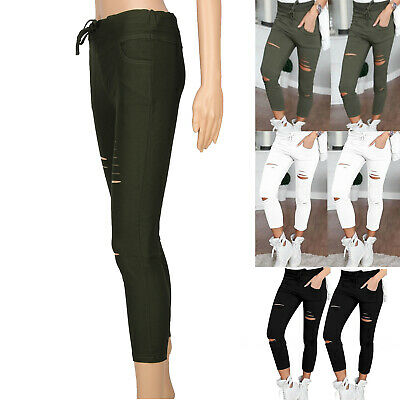 Hot Womens Stretchy Faded Ripped Slim Fit Skinny Jeggings Trousers Ladies Pants