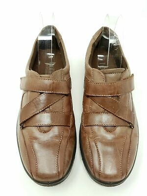 Hotter Wonder Brown Leather Flat Comfort Shoes UK 4.5 Straps Round Toe Casual