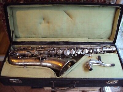 B Tenor Sax Frank Holton Elkhorn Nr. 23187 SILBER Low Pitch mit Koffer