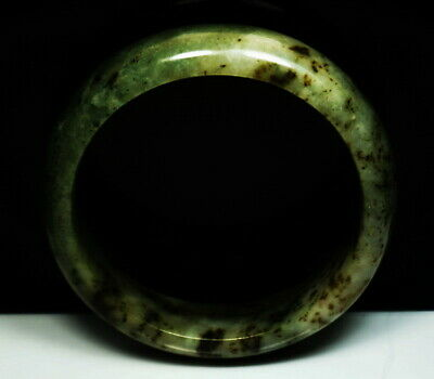 Antique Chinese Natural Grade A Gray-Green Jade Stone AAA Bangle Bracelet 63mm