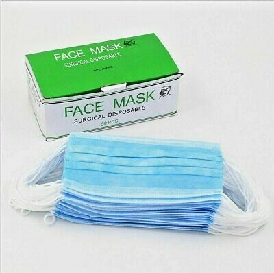 50 Pcs Face Mask Protection  Flu Prevention Surgical Disposable Green