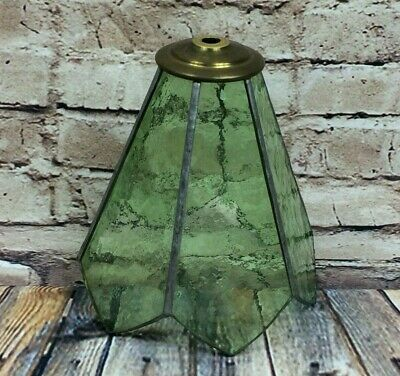 Vintage Green Stained Cathedral Glass Leaded Light Shade