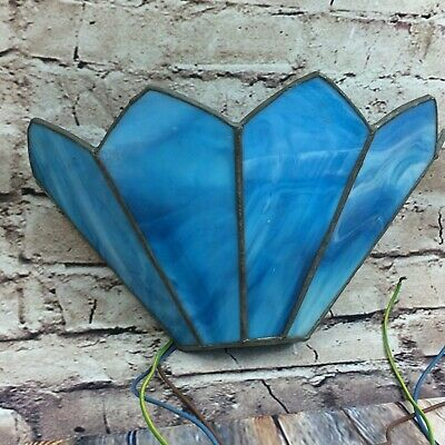 Vintage Blue Leaded Stained Glass Wall Light Sconce Uplighter With BC Fitting