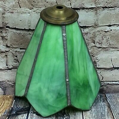 Vintage Green Opaque Leaded Stained Glass Light Shade